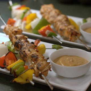 Chicken and Veggie Kabobs with Peanut Dipping Sauce