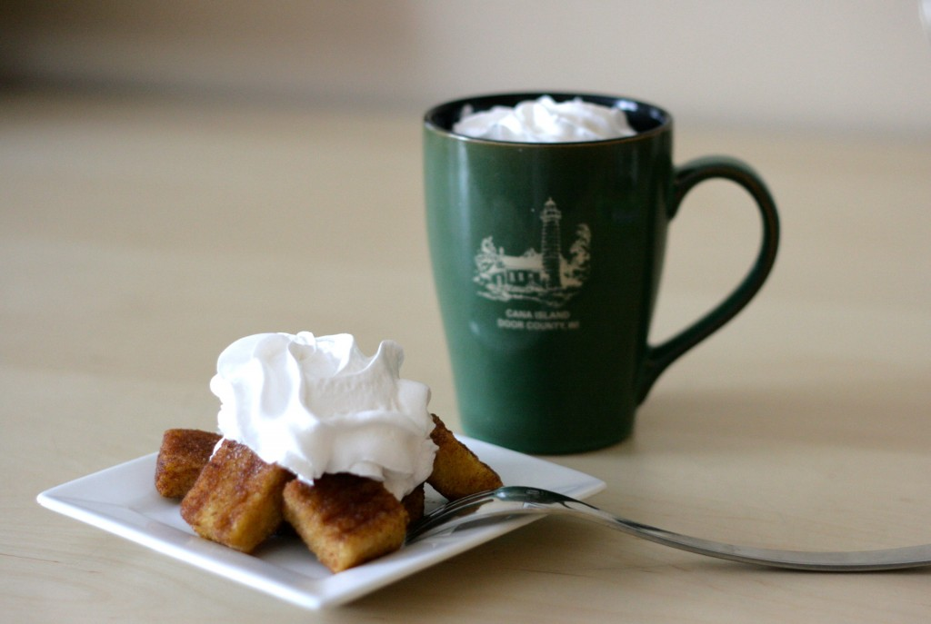 whipped cream on french toast bites and a cinnamon dolce latte