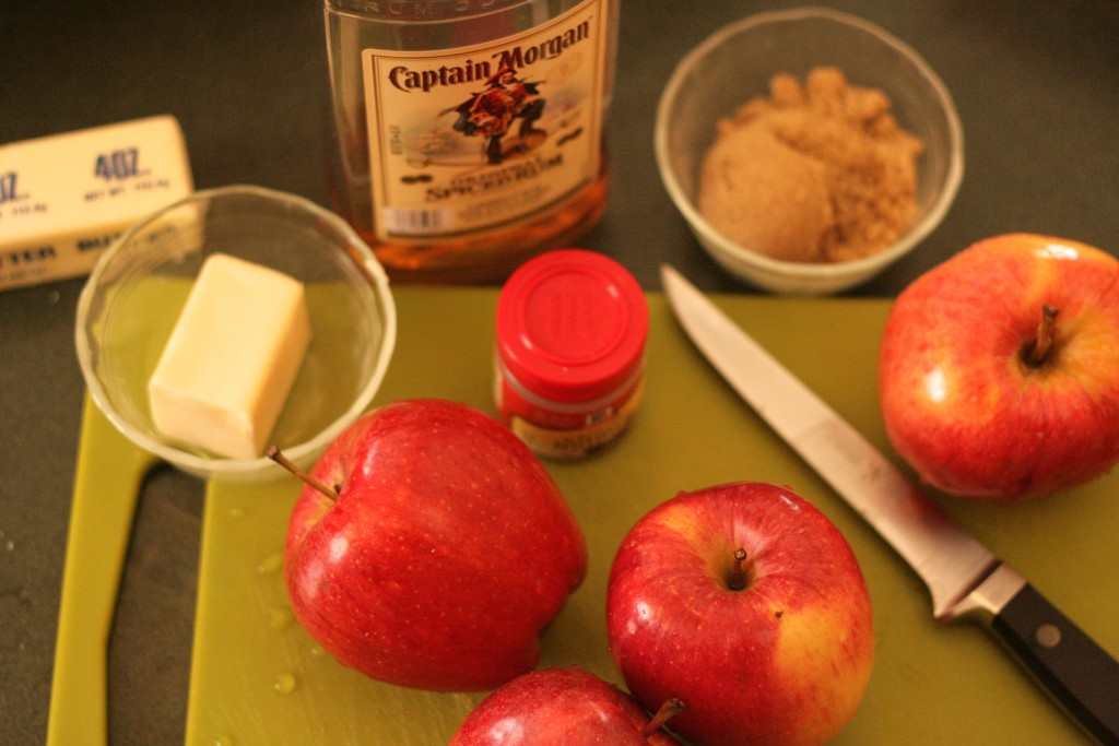 Apples, butter, rum, brown sugar