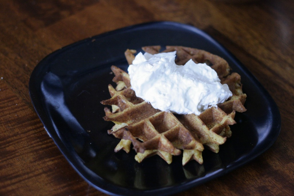 carrot cake waffles with cream cheese frosting