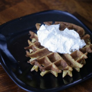 Pumpkin Spice Carrot Cake Waffles with Cream Cheese Frosting