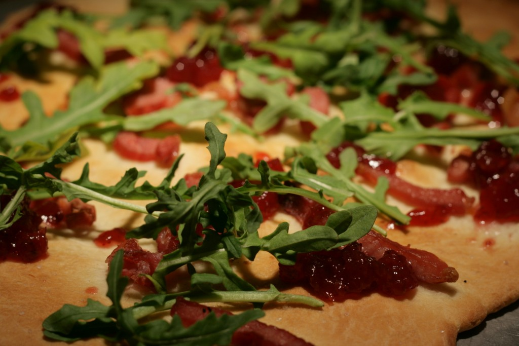Garlic Lavash with Smoked Pork, Arugula and Lingonberries