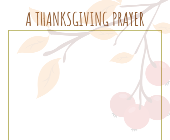 Thanksgiving prayer template preview